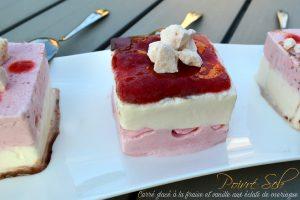 Carré glacé a la fraise et vanille