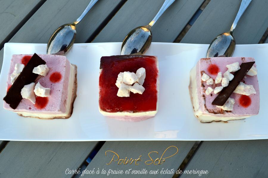 Carré glacé a la fraise et vanille aux éclats de meringue présentation
