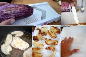 Chips aubergine sel de piment d'Espelette préparation