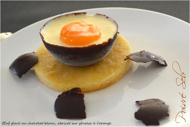 Œuf au chocolat blanc, abricot sur génoise à l'orange