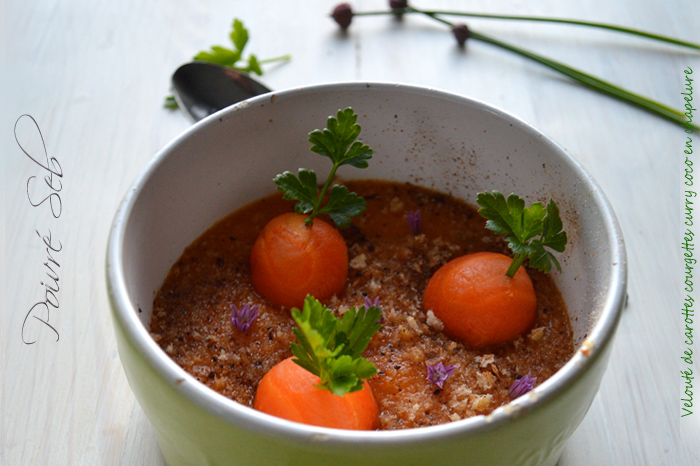Velouté de carottes courgettes curry coco en chapelure