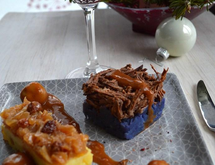 Parmentier d'effiloché de bœuf Bourguignon et sa sauce miroir Bordelaise