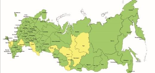 Распределение вредителей леса на территории Российской Федерации на конец 2019 г. (желтым цветом отмечены регионы с высокой численностью вредителей)