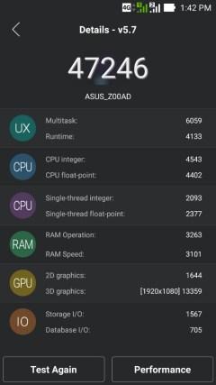 ASUS Zenfone 2 score after OTA update