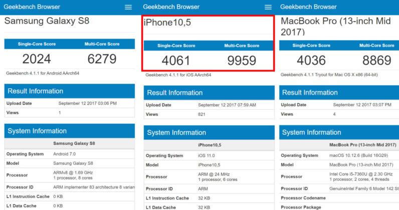 Apple iPhone X benchmark geekbench leak
