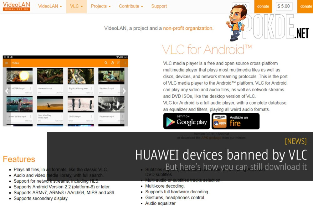 HUAWEI devices banned by VLC — but here's how you can still download