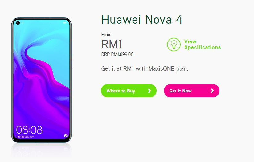Here's How to Get the Huawei nova 4 Smartphone At Just RM1 maxis maxisone