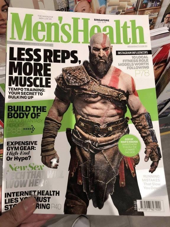 It's gonna be hard to believe but for real, Kratos from God of War is gracing the magazine cover of Men's Health Singapore.