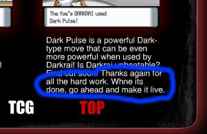 Darkrai mistake on Darkrai.com
