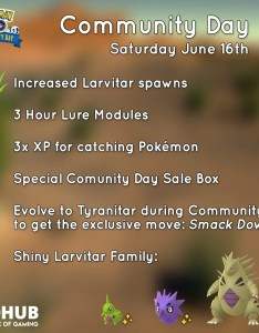 We are currently unsure of how niantic selected smack down but aren   complaining will be  complete game changer for tyranitar also larvitar community day guide june pokemon go rh howpokemongo