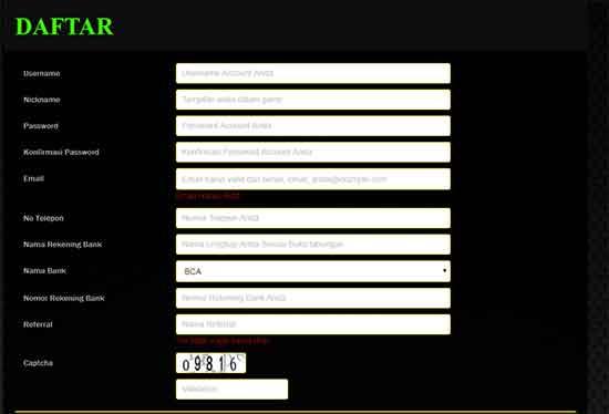 Form daftar poker6