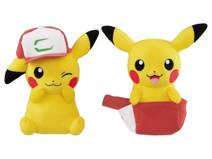 pokemon_plushies_of_pikachu_wearing_ashs_hat_from_pokemon_the_movie_i_choose_you_and_sitting_in_it