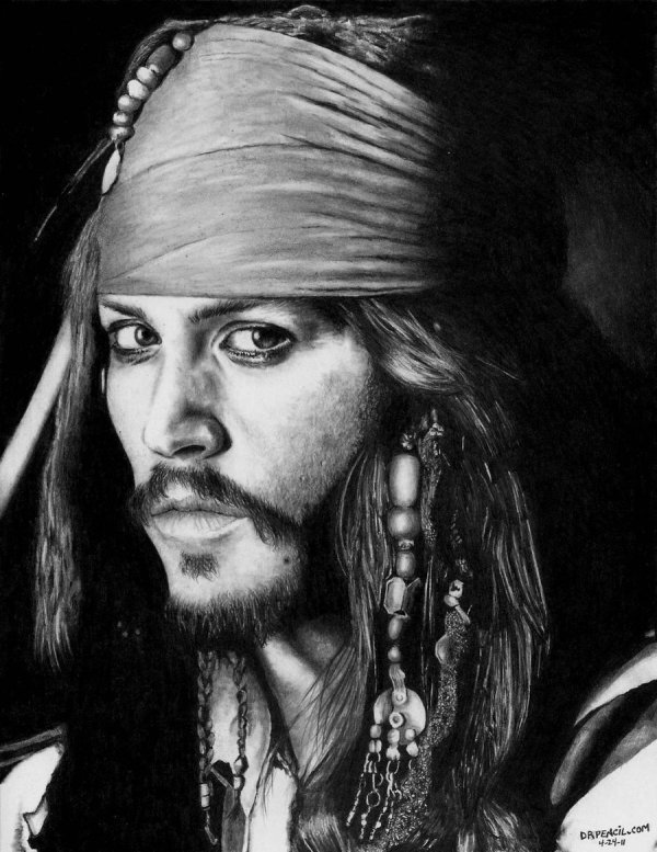 Pencil Drawing of Captain Jack Sparrow