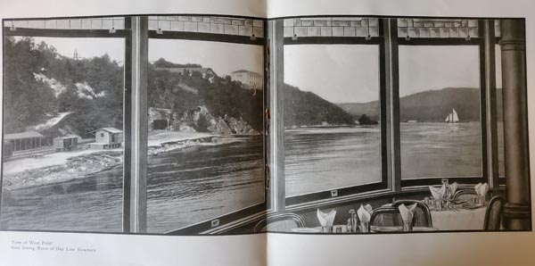 View o West Point from Dayliner Dining Room from Hudson Valley Guide Magazine Vol 1-No. 3, 1905