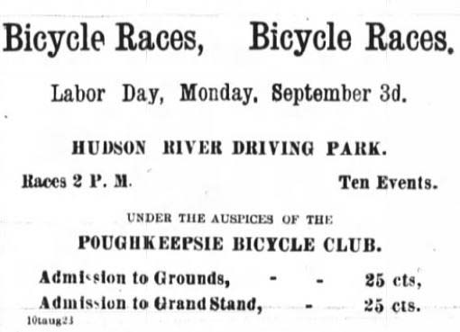 Newspaper Ad for Poughkeepsie Bicycle Club Race 1894