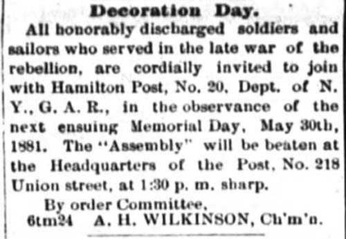 Newpaper clipping titled Decoration Day