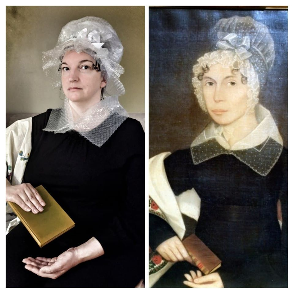 Photo of Yvonne recreating paintting of Ann Seward Swartwout