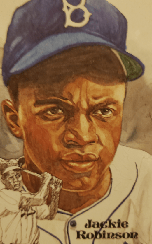Image of illustration of Jackie Robinson from collection of Arnie Serotsky