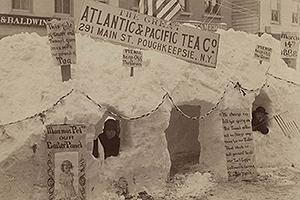 "03 - ""The Great Atlantic & Pacific Tea Company,"" snow tunnel built after the storm. (LH Collections)"