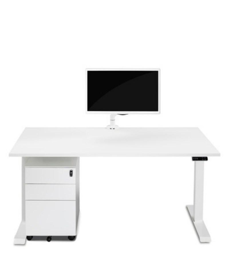 Biurko białe podnoszone elektrycznie z regulowaną wysokością do pracy stojącej i siedzącej, Comfort ZB-200