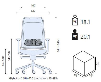 fotel ergonomiczny Shine wymiary