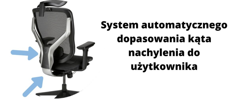 ergonomiczne krzesło biurowe Zhuo Sulaco - system dopasowania się kąta nachylenia