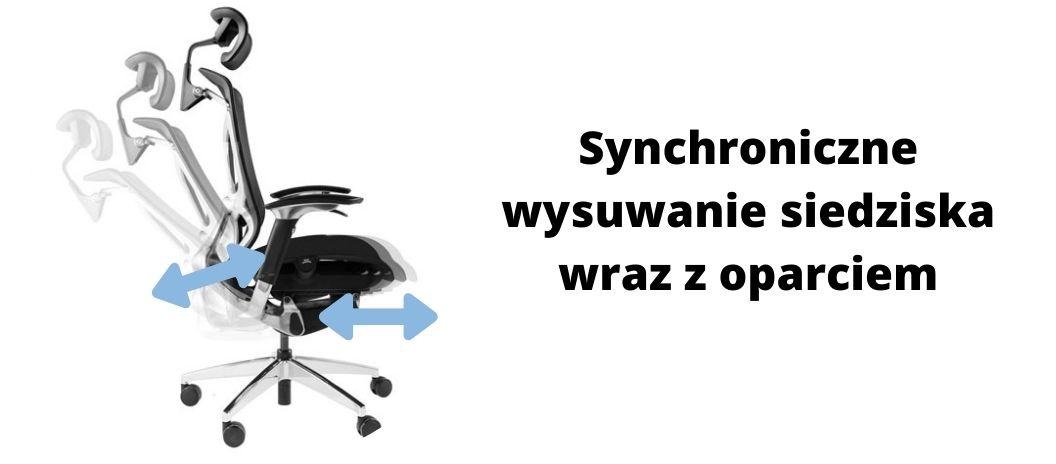 Fotel ergonomiczny Zhuo Challenger dla programisty, synchroniczne odchylanie oparcia i siedziska