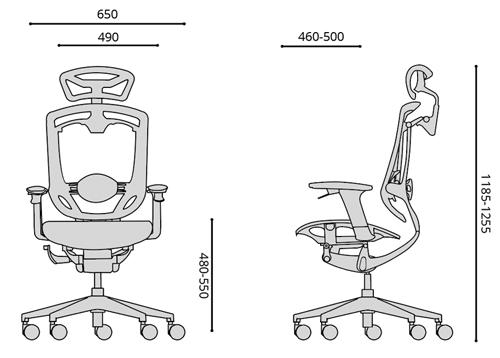 fotel biurowy ergonomiczny Zhuo Maven, wymiary