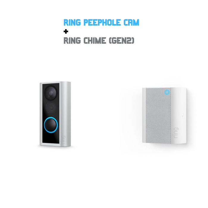 Ring Peephole Cam/Doorbell + Ring Chime 組合