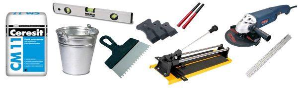 Инструменты и материалы для укладки плитки на пол