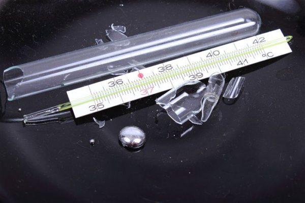 壊れた温度計からの水銀のコレクションの特徴