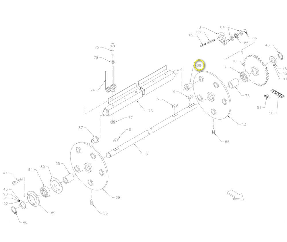 Tulejka podbieracza prasy Deutz Fahr Vicon 06571309