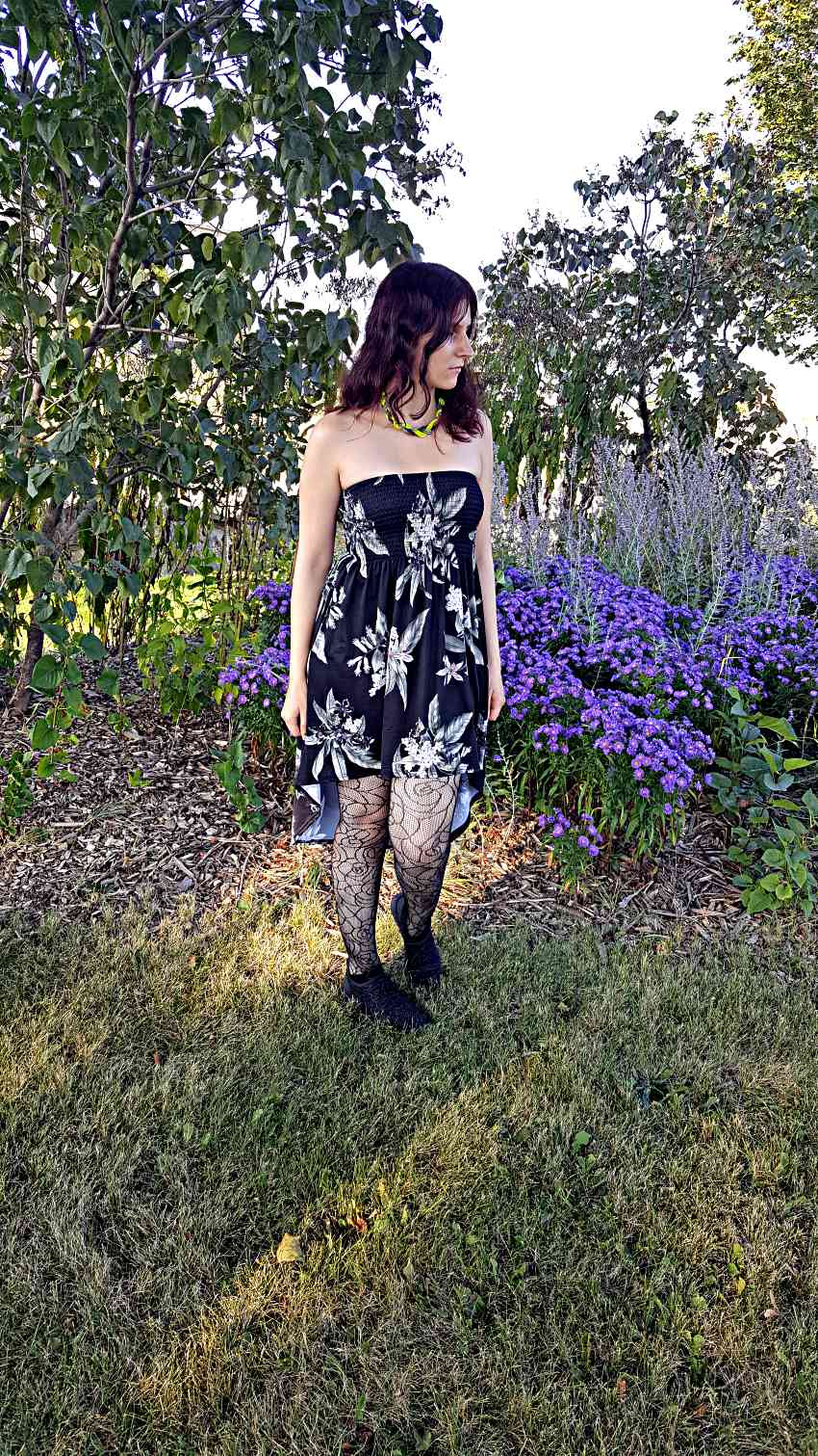 Polar Bear Style Black Lace Tights Tropical High-Low Dress Crystal Sneakers Braided Necklace