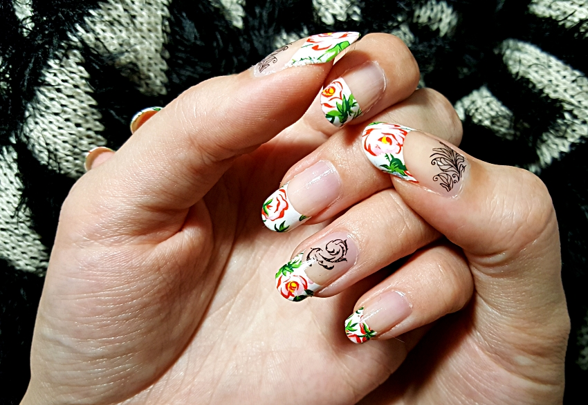 Another French Manicure: Floral French Nails with Black Leaves ...