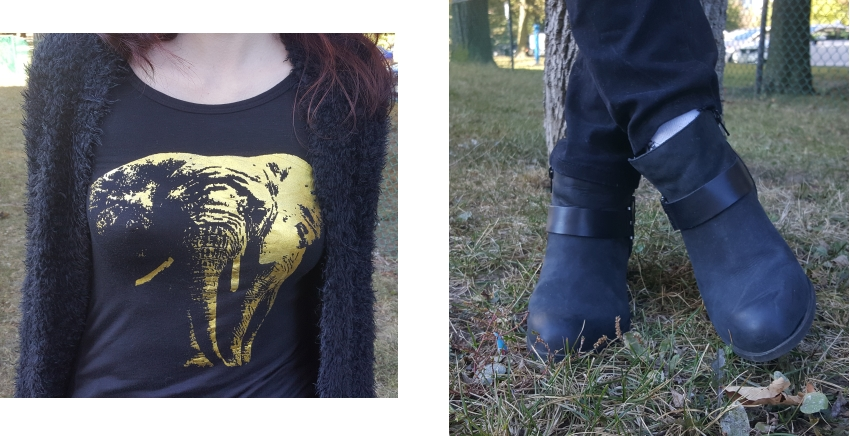 Polar Bear Style Monochrome Black Fuzzy Cardigan Ripped Jeans Graphic Top Booties