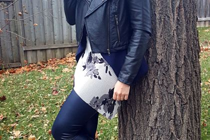 Polar Bear Style White Floral Asymmetric Tunic Navy Faux Leather Leggings White Knit Scarf Navy Blazer Black Leather Jacket Black Boots