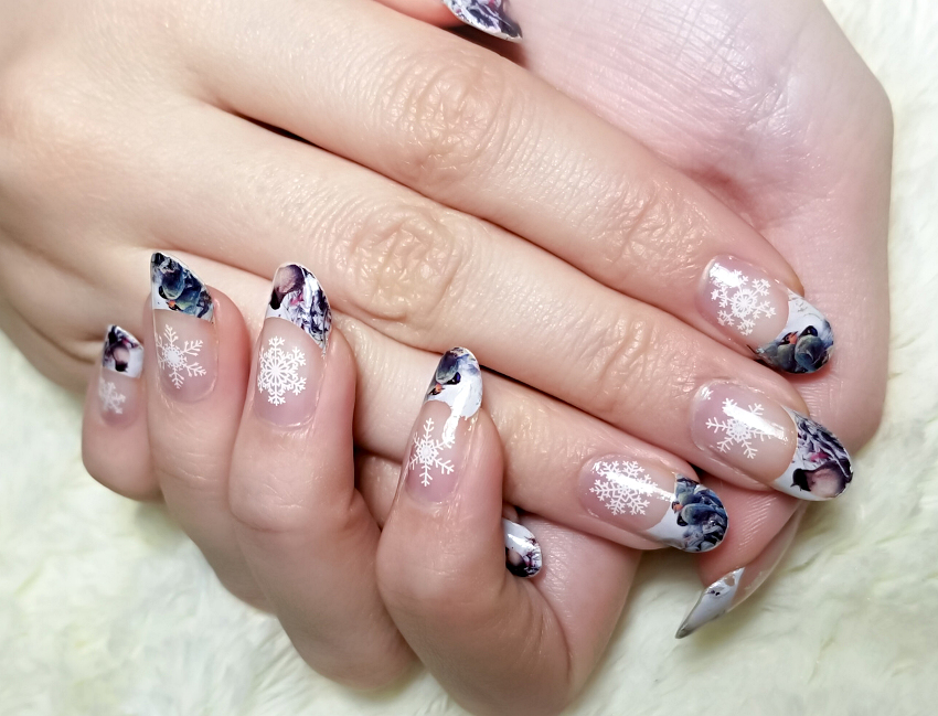 Polar Bear Style Winter Nails Birds Pines Snowflakes French Manicure China Glaze Top Base Coat