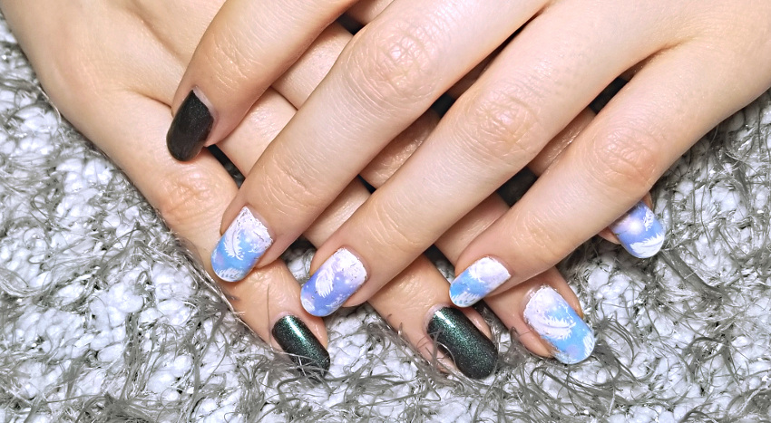 Polar Bear Style Feather Decal Accent Nails China Glaze Top Base Coat