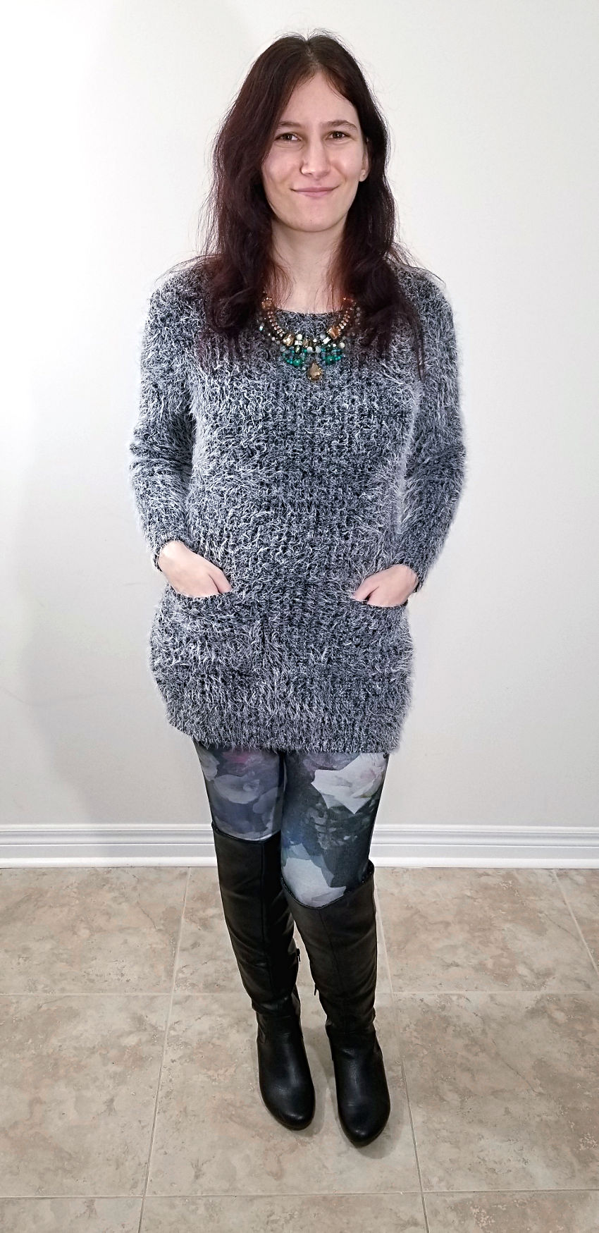 Winter Dressing Fuzzy Grey Sweater Dress Floral Leggings Green Necklace and Tall Boots ...