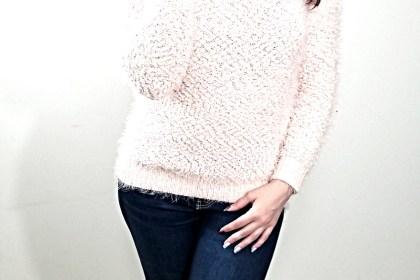 Polar Bear Style Fuzzy Pink Sweater Blue Crystal Choker Purple Velvet Thigh-High Boots