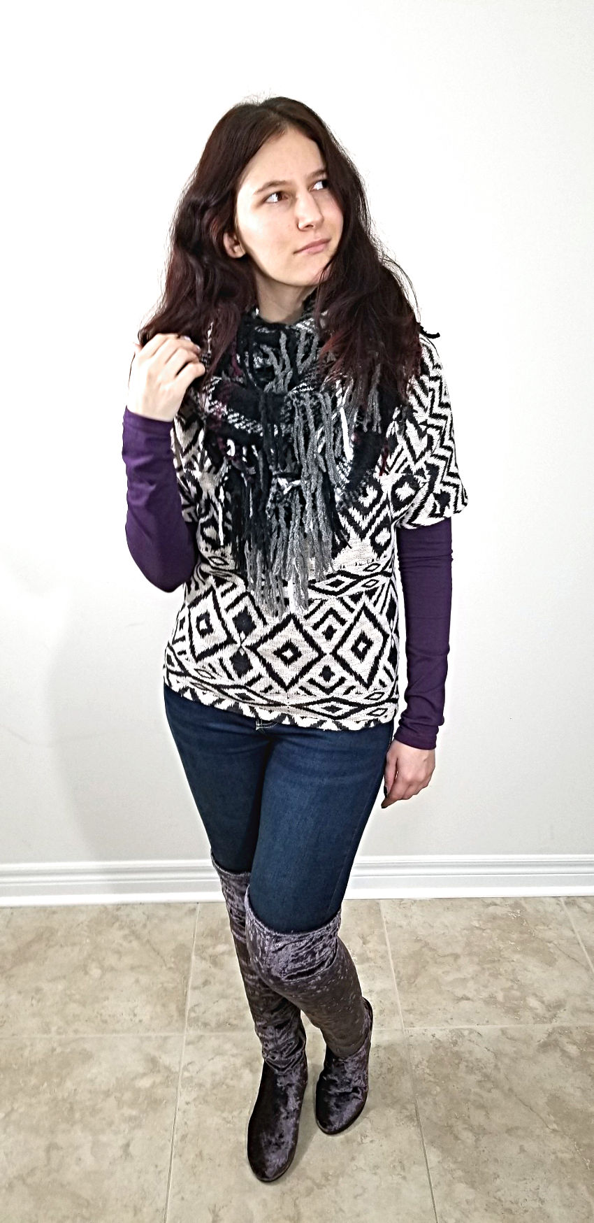 Polar Bear Style Geometric Top Layered Plaid Scarves Purple Velvet Thigh-High Boots