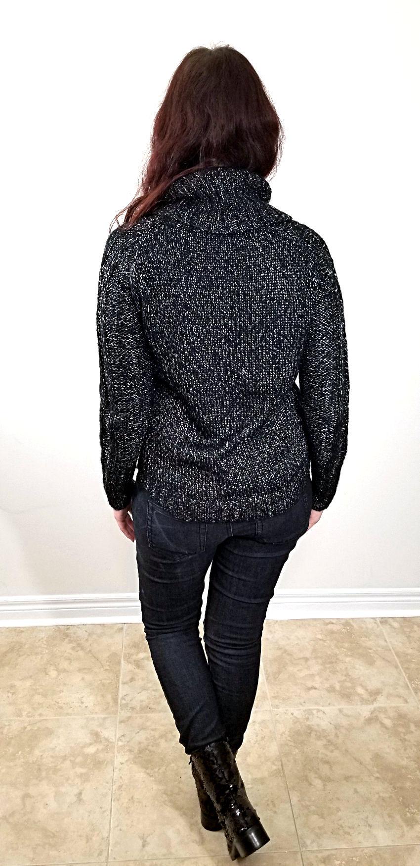 Polar Bear Style Monochrome Black Turtleneck Black Jeans Black Sequin Combat Boots