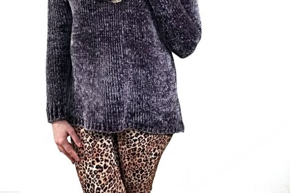 Polar Bear Style Leopard Leggings Leopard Scarf Grey Sweater Tall Black Boots