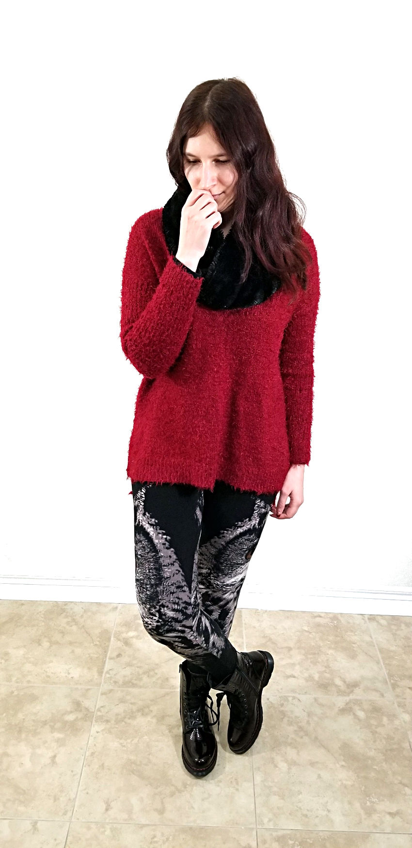 Polar Bear Style Owl Leggings Burgundy Oversized Sweater Black Fuzzy Scarf Patent Leather Combat Boots