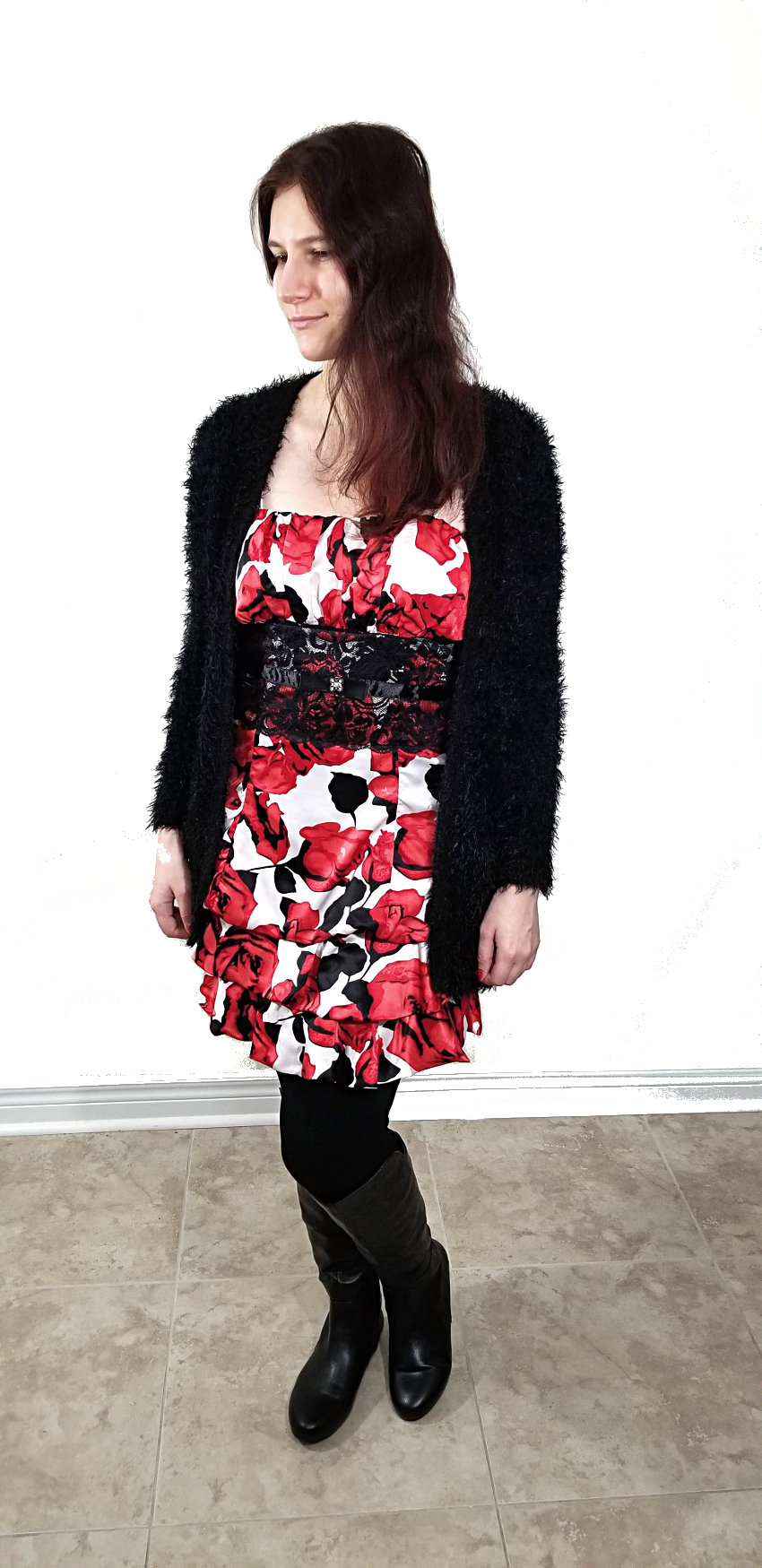 Polar Bear Style Valentine's Day White Dress Red Roses Black Boots