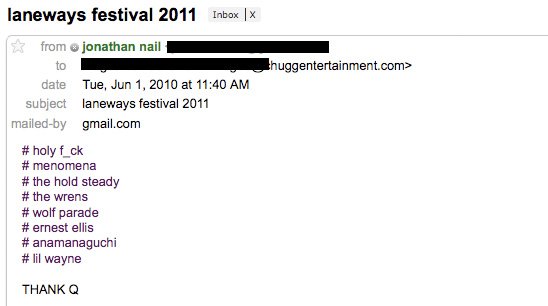 Print Screen #1: Laneway 2011, EXCLUSIVE SHIT!!!, Sia