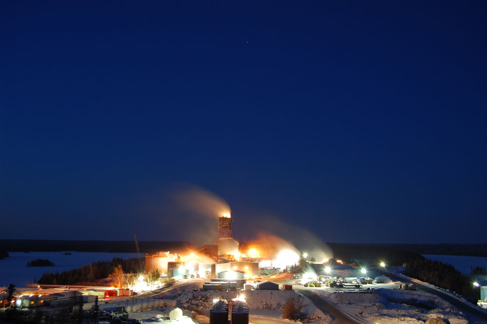 Seabee Gold Operations – Night view of mill and administration facilities