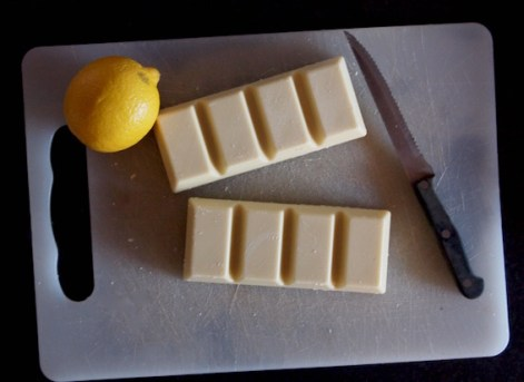Lemon and white chocolate, making truffles