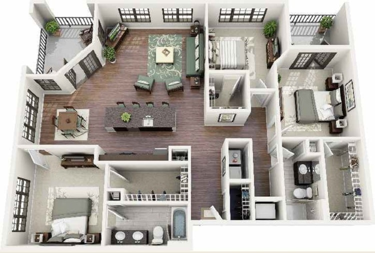 rumah idaman 1 lantai 3 kamar tidur