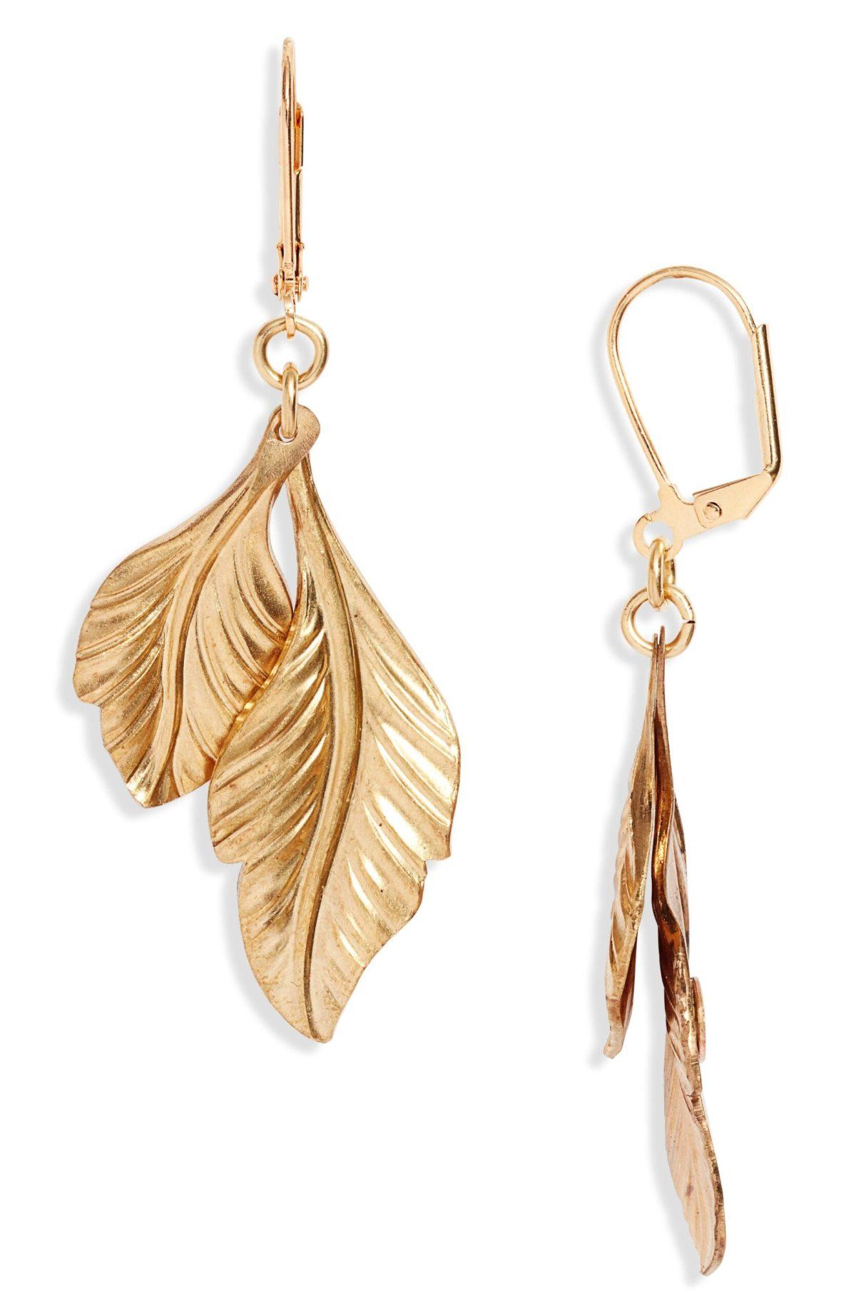 We Dream in Colour Jardiniere Plume Feather Drop Earrings